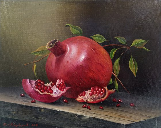 Still life-pomegranates(24x30cm, oil painting, ready to hang)