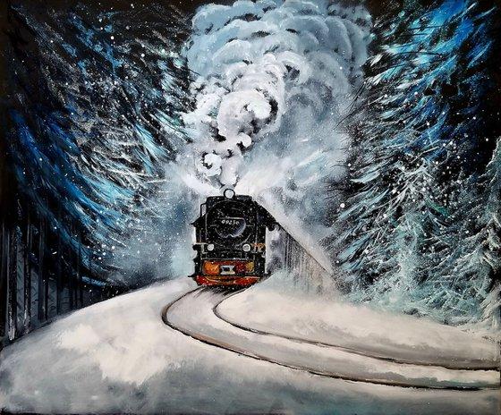 Polar Express. Impressionist Winter Landscape. Original Oil Painting. Home Decor. Wall Art.
