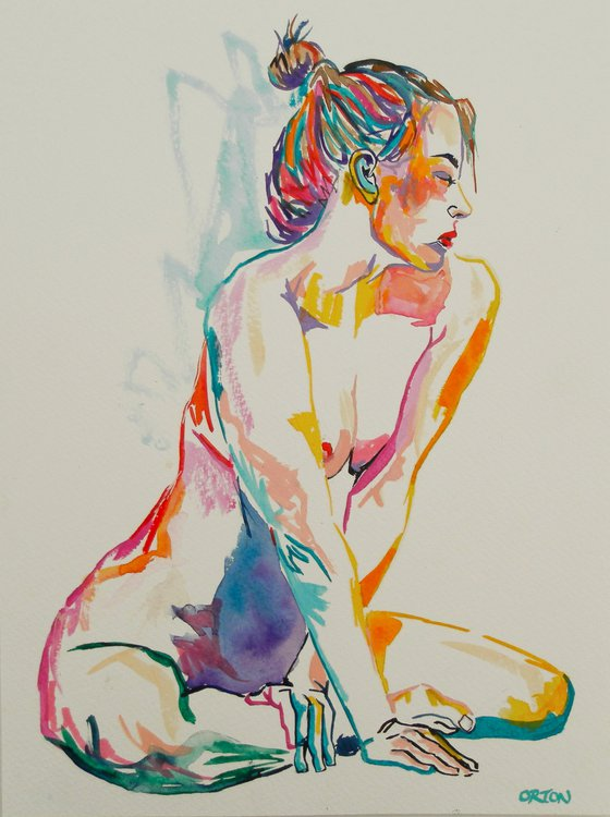 Female Nude Art Original Painting Drawing Charcoal Water Colour Nude