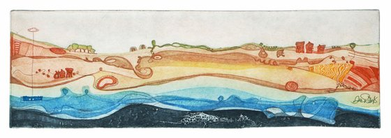 """Heike Roesel """"Yellow fields by the Sea"""", fine art etching, edition of 35 in variation"""