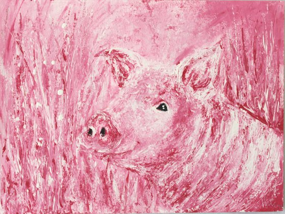 Pig in the field - Acrylic painting - Animal art
