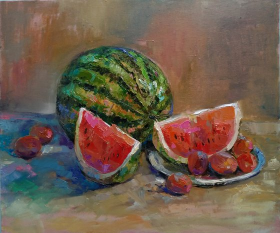 Still life - watermelon  (42x50cm, oil painting, ready to hang)