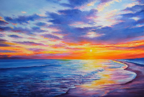 """Majestic Sunset - 120x80 cm - 47""""x31"""", Large original seascape painting, Ready to hang"""