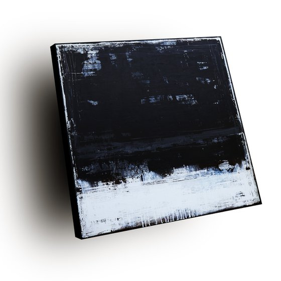 BLACK VELVET - 120 X 120 CMS - ABSTRACT ACRYLIC PAINTING TEXTURED * ANTHRACITE * WHITE * BLACK