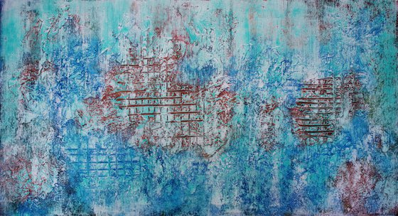 Abstract,brown,green,blue,white christmas sale was 1200 USD now 745 USD.