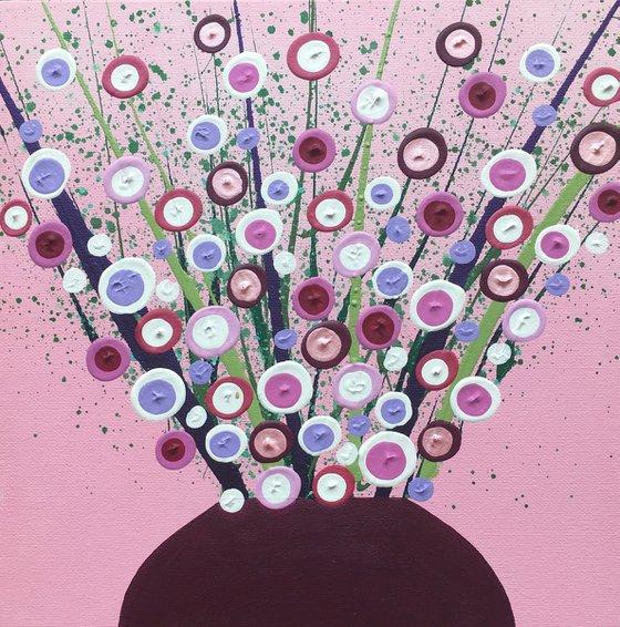 Pink Blooms in Raspberry Vase