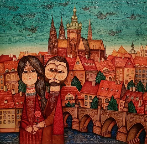 Prague (70x70cm, oil painting, ready to hang)
