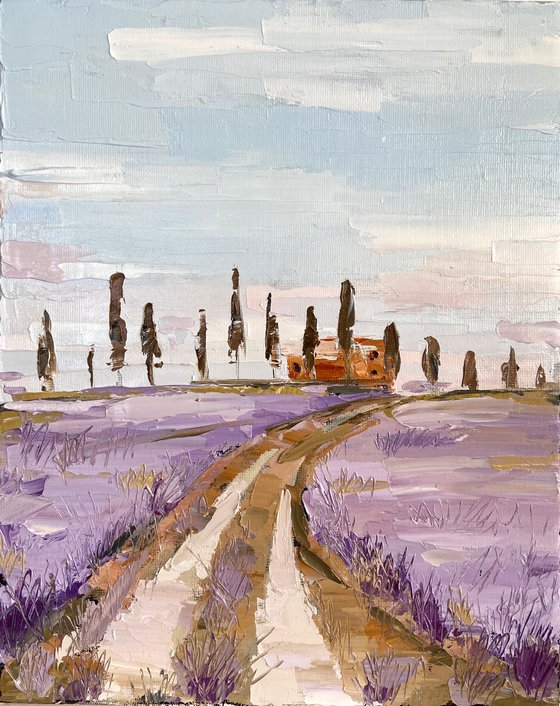 Purple spring 22x28 impasto oil landscape