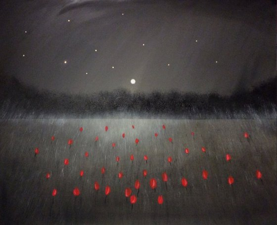 """""""Beam Of Light And A Field Of Roses"""" 120x100x4cm"""