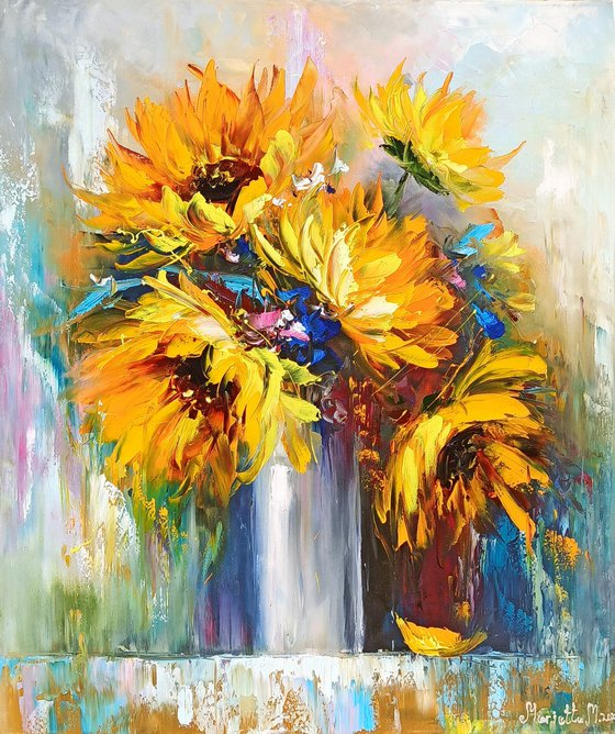 Sunflowers(70x60cm, oil painting, palette knife, ready to hang)
