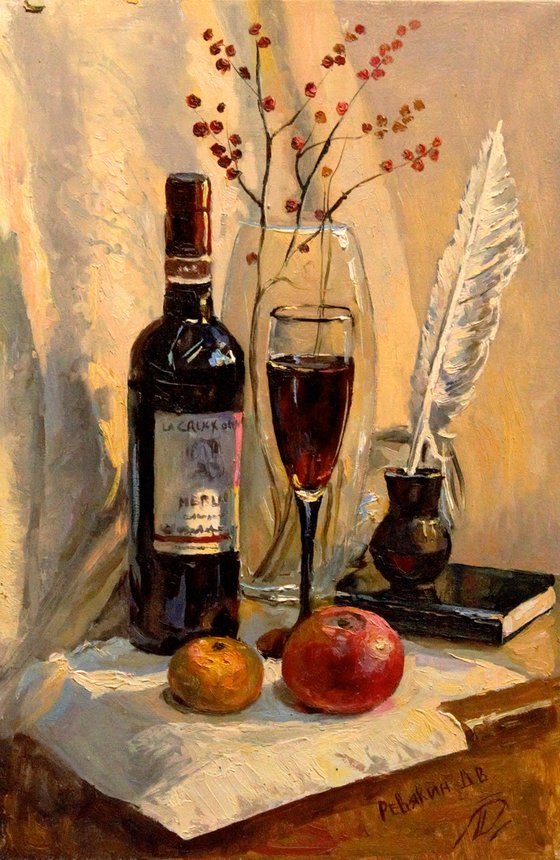 Still life with wine. Oil painting
