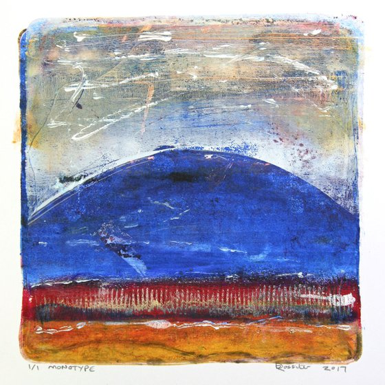 Spring Hill - Acrylic & Ink Monotype on Paper Unframed