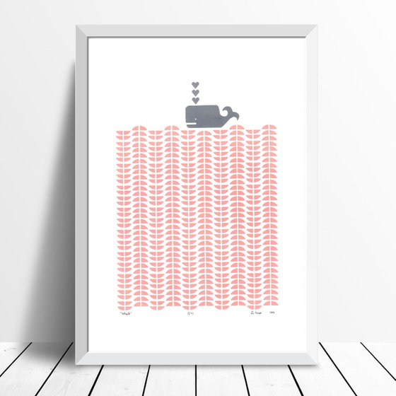 Whale in Rose Blush - Framed - FREE Worldwide Delivery
