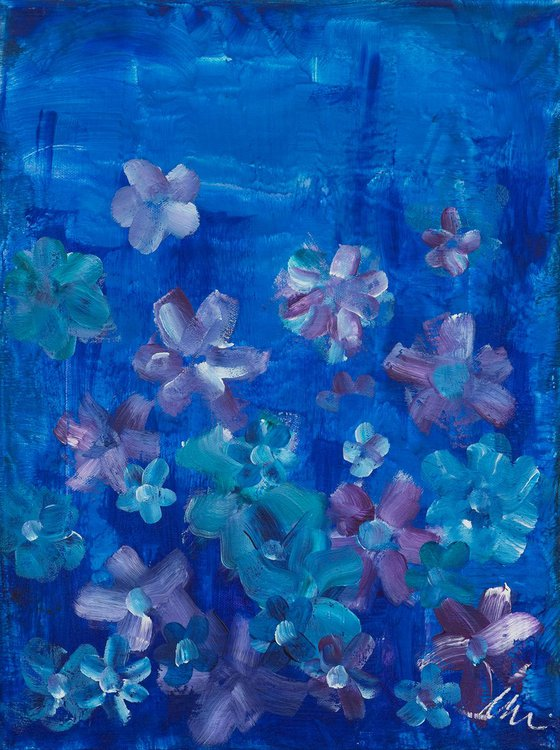 Garden in the night - Abstract blue flowers