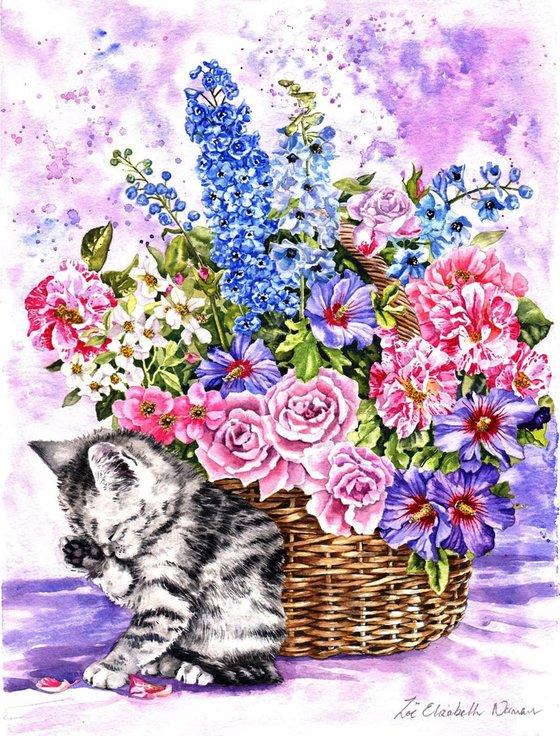 Kitten and Summer Flowers