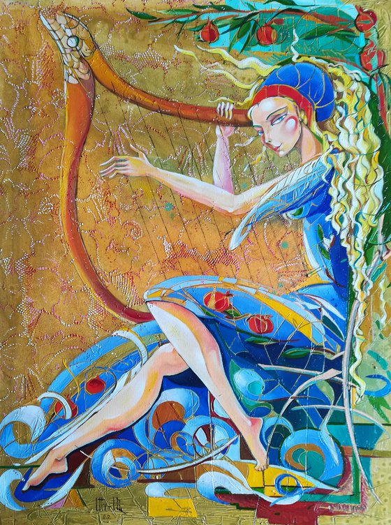 Soul Melody 60x80cm, oil painting, modern art, ready to hang, music painting