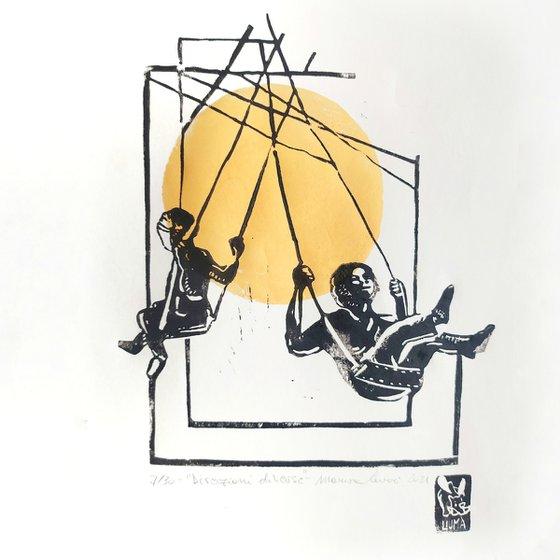 Zodiac: Gemini- illustration print- linocut print