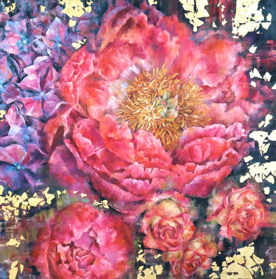 Coral peony with hydrangea and roses and gold on dark background