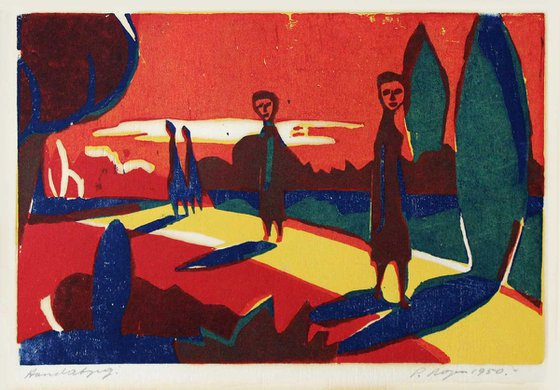 Four Figures in a Tree Avenue