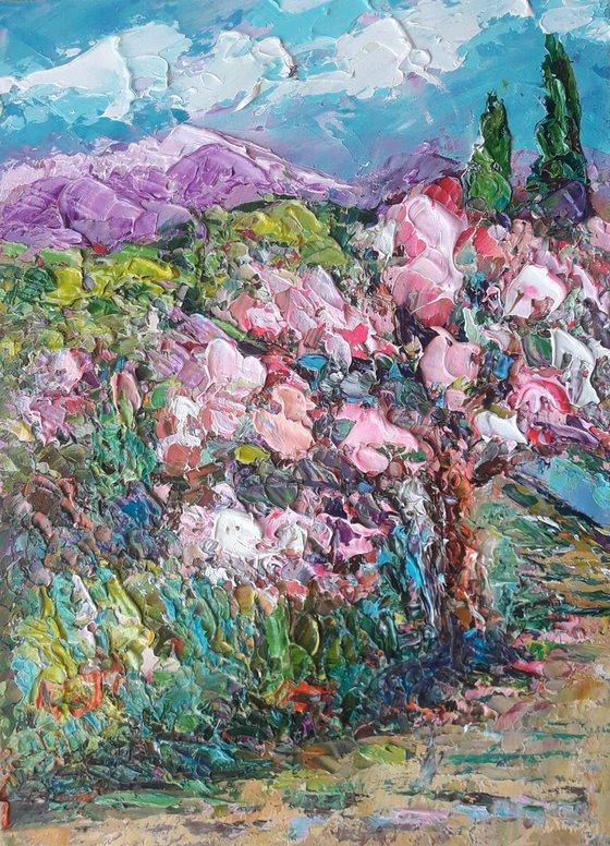 Landscape Sakura Blossom painting, Original art Impasto, Art Sakura artwork, Original Artwork Abstract Painting Oil Painting, Small Painting
