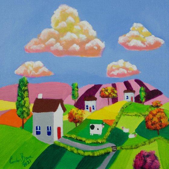 Little houses folk art oil painting on panel