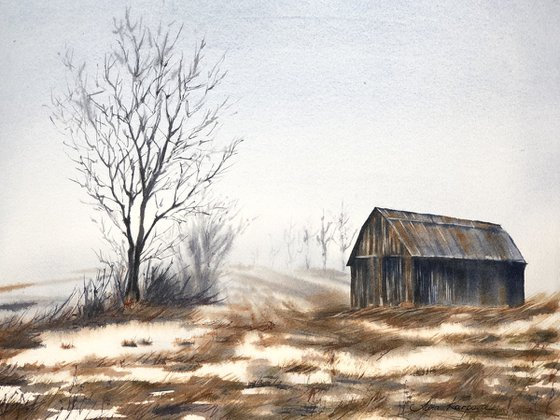Old barn winter scene