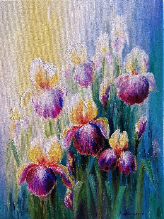 Iris flowers oil painting
