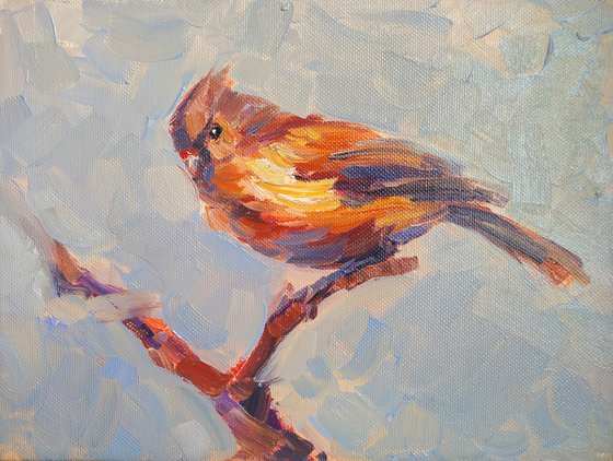 Small pictures series -28- Bird (24x18cm, oil painting, ready to hang)