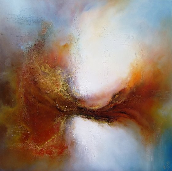 SURGE OF LIFE (LARGE DEEPLY TEXTURED OIL PAINTING 80cms X 80cms)