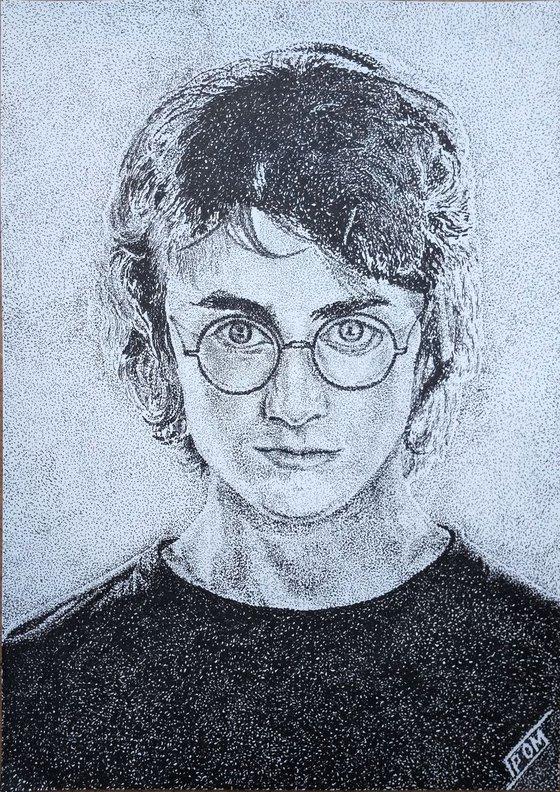 Harry Potter portrait original pointillism art