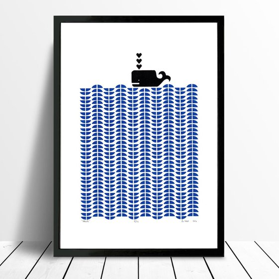 Whale in Santorini Blue - Framed - FREE Worldwide Delivery
