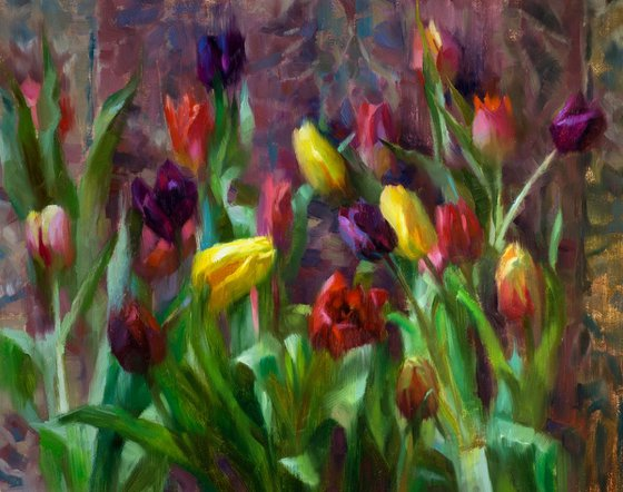 'Tulips' - original oil painting, alla prima oil painting, one of a kind