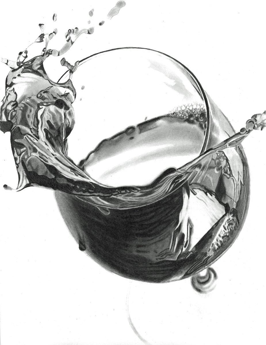 Red Wine Splash Pencil drawing by Paul Stowe | Artfinder