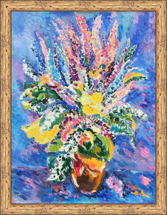 BOUQUET - floral still-life with summer flowers, original painting oil on canvas, Valentine's Day gift