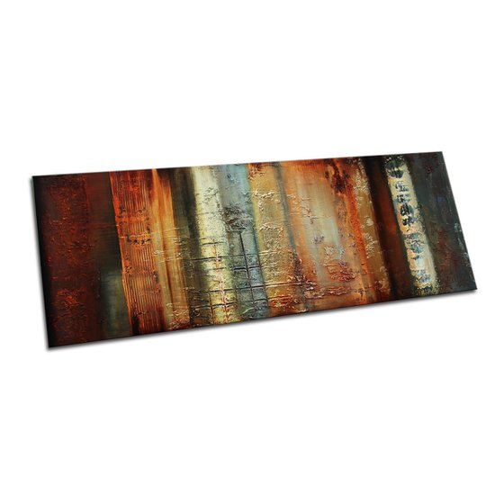 OLD METAL - LARGE ABSTRACT PAINTING 160 x 60 CMS - WITH STRUCTURES