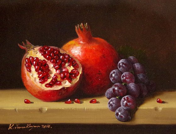 Kitchen art, Still Life, Fruits, Pomegranate, Original oil Painting, Classic Art, Handmade painting, One of a Kind