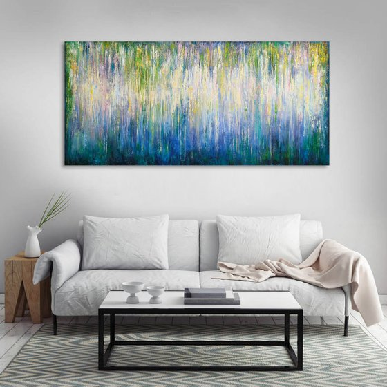 """150x70 cm - 59""""x28"""", Fantasy Landscape, Large original modern abstract painting, Ready to hang"""
