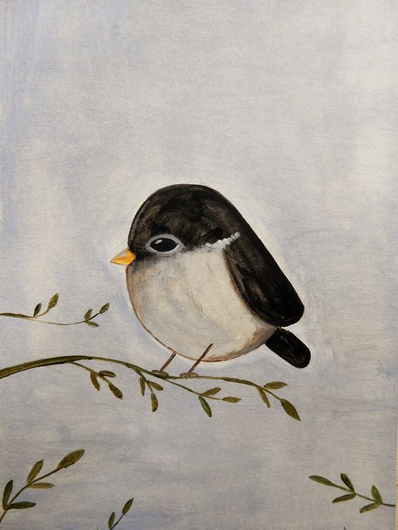 The small bird in black and gray - oil on paper