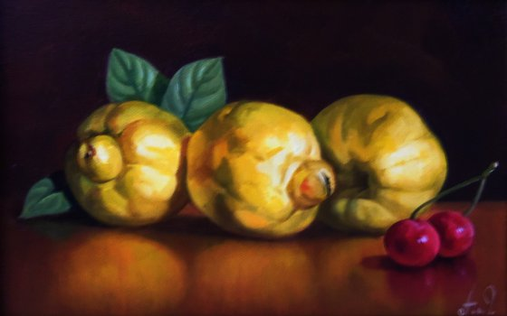 Still life with quince  (20x30cm, oil painting, ready to hang)