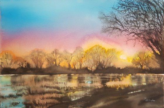 Flooded Field, Evening Light