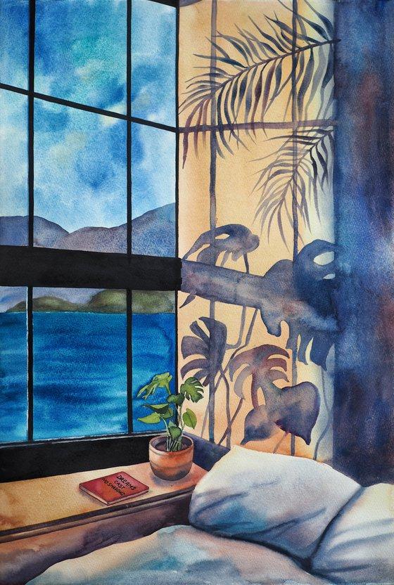 Dreams cast no shadows - original conceptual watercolor