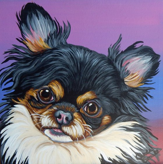 Papillion Chihuahua Pet Dog Original Art Painting-8 x 8 Inches Stretched Canvas-Carla Smale