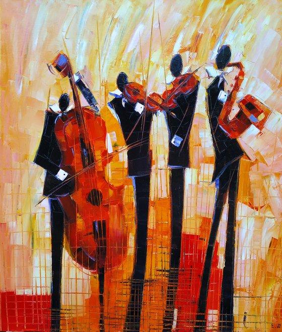 Jazz quartet  (60x70cm, oil painting, ready to hang)