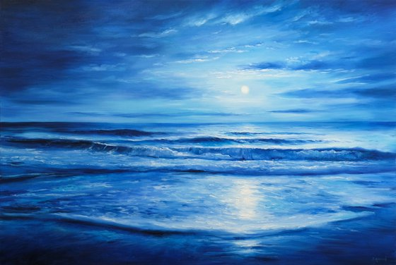 """Dreamy Moonlight, 120x80 cm - 47""""x31"""", Original Seascape oil painting, Ready to hang"""