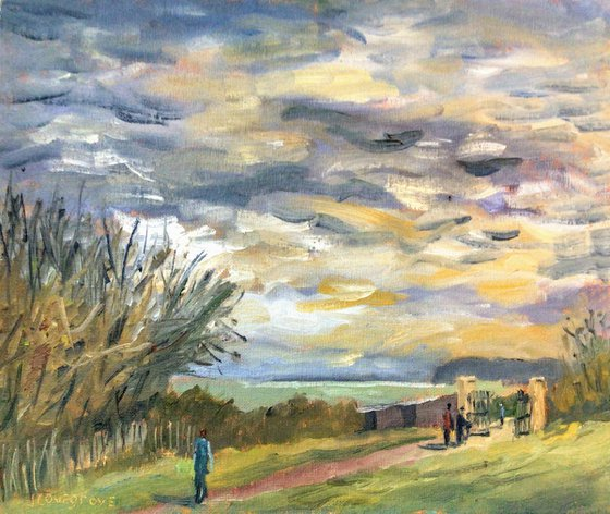 Stormy Sky in the Park An original oil painting