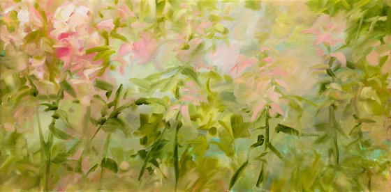 Pastel flowers - Floral abstraction - Oil painting