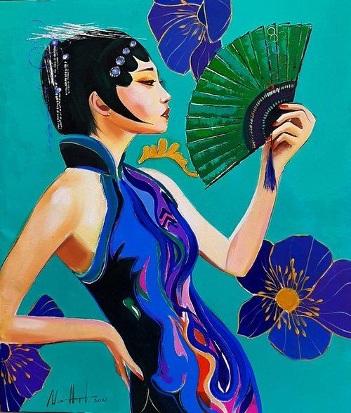 Geisha (60x70cm, oil/canvas, ready to hang, Modern portrait)