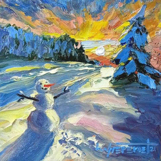 Snowman Winter Landscape with Sunset Original Oil Painting, Small Oil Painting on Wood Panel, Ready to Hang, Impressionist Wall Art, Snow and Sun Miniature Painting