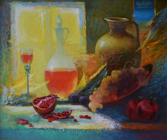 In the pantry (still life with pomegranate)