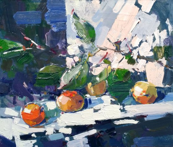 2019, august, still life (apricots)